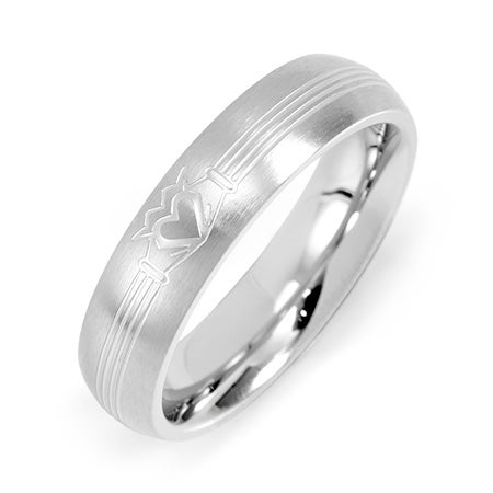 Women's Stainless Steel Engraved Claddagh Message Band | Eve's Addiction®
