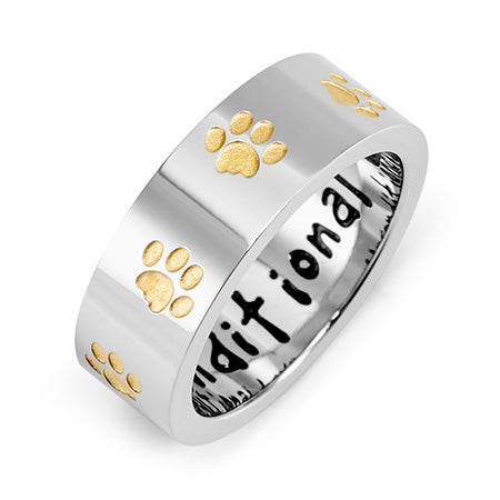 Unconditional Love Stainless Steel Golden Paw Print Ring | Eve's Addiction®