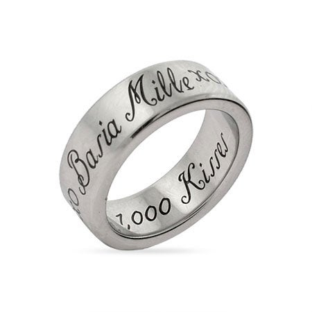 1,000 Kisses Stainless Steel Poesy Ring | Eve's Addiction®
