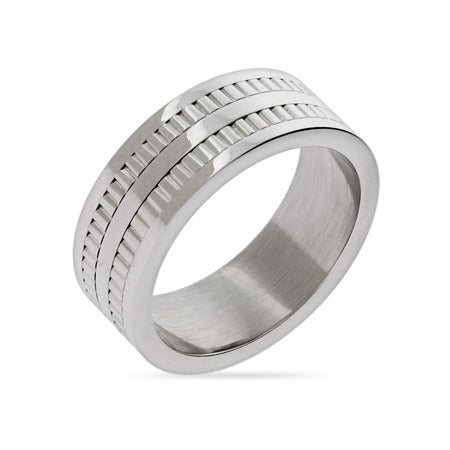 Engravable Men's Double Row Tread Ring
