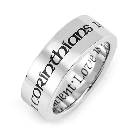 Love Is Patient Love Is Kind Stainless Steel Purity Ring | Eve's Addiction®