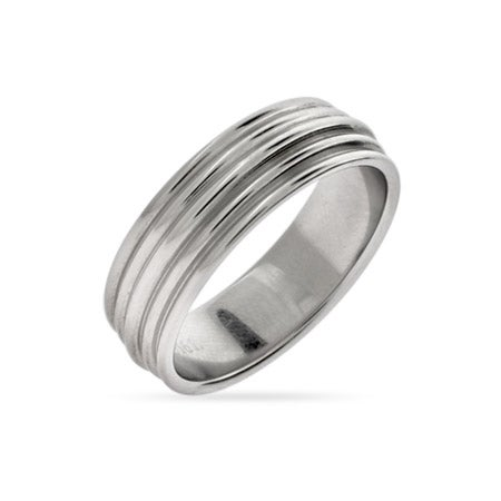 Men's Stainless Steel Ribbed Message Band | Eve's Addiction®