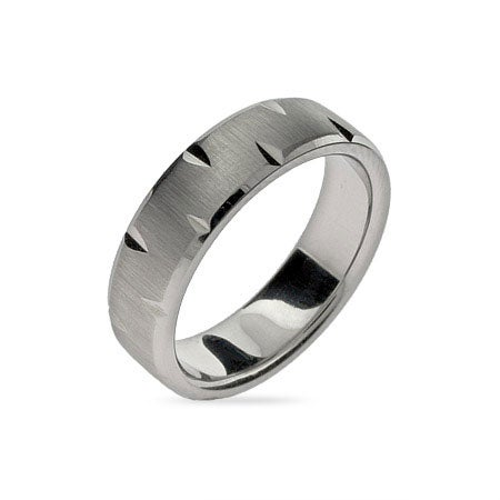 Diamond Cut Brushed Stainless Steel Engravable Band | Eve's Addiction®