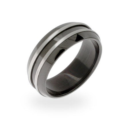 Men's Black Plate Double Steel Row Message Band | Eve's Addiction®