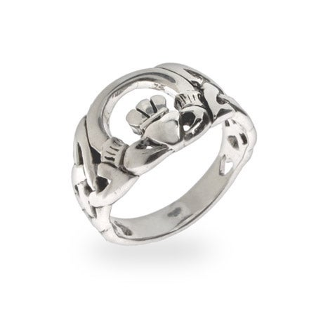 Claddagh Ring with Celtic Weave Band | Eve's Addiction®