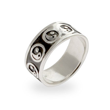 Sterling Silver Engravable Yin Yang Band | Eve's Addiction®