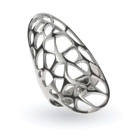 Large Open Filigree Design Oval Sterling Silver Ring | Eve's Addiction®
