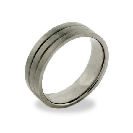 Double Grooved Titanium Promise Ring for Men | Eve's Addiction®