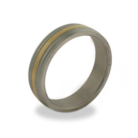 Mens Engravable Gold Stripe Titanium Band | Eve's Addiction®