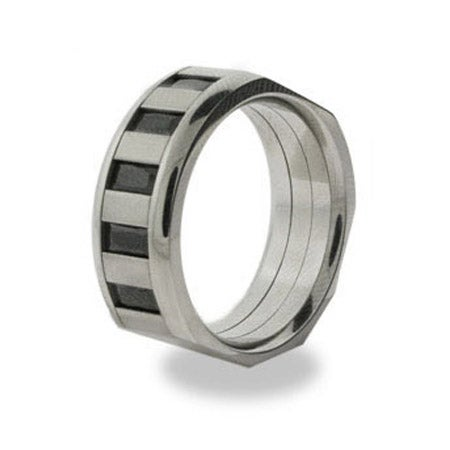 Mens Stainless Steel Ring with Onyx Baguettes