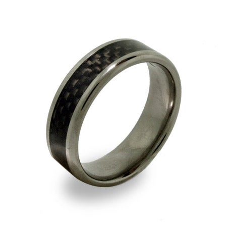 Mens Titanium Ring with Carbon Fiber Inlay | Eve's Addiction®