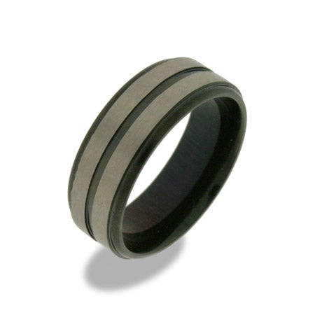 Mens Triple Black Stripe Titanium Ring | Eve's Addiction®