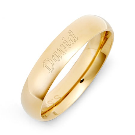 18K Gold Plated 5mm Band in Stainless Steel - Comfort Fit Design | Eve's Addiction®