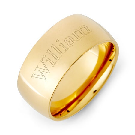 18K Gold Plated 9mm Stainless Steel Comfort Fit Band | Eve's Addiction®