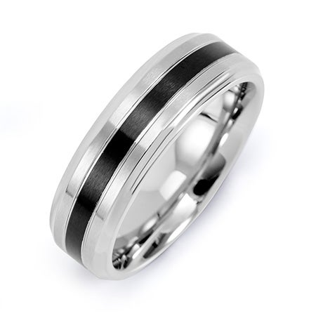 Mens Stainless Steel Band with Single Black Inlay | Eve's Addiction®