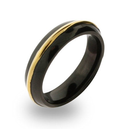 Mens Stainless Steel Black Plated Gold Rimmed Engravable Band | Eve's Addiction®