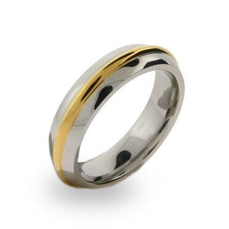 Mens Stainless Steel Gold Rimmed Band | Eve's Addiction®