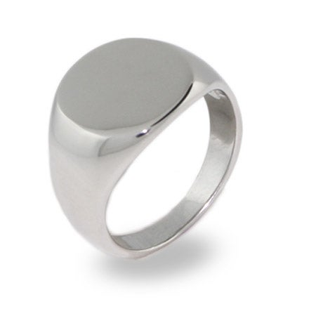 Ladies Oval Cut Engraved Signet Ring in  Stainless Steel | Eve's Addiction®