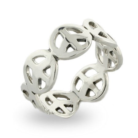 Sterling Silver Peace Sign Band | Eve's Addiction®