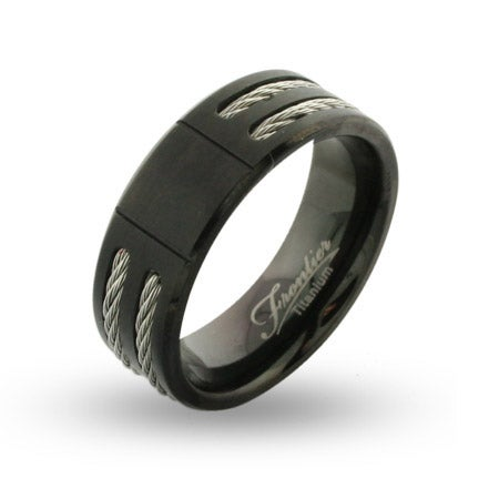 Mens Wide Black Titanium Engravable Signet Ring with Double Cable Inlay | Eve's Addiction®