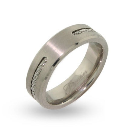 Mens Engravable Titanium Signet Ring with Single Cable Inlay | Eve's Addiction®