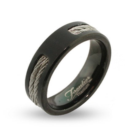 Mens Black Engravable Titanium Signet Ring with Double Cable Inlay | Eve's Addiction®