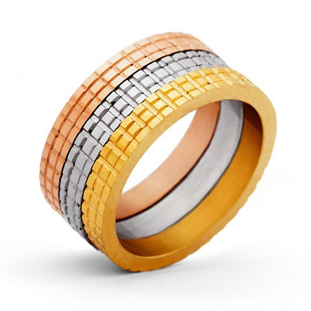 Designer Inspired Three Tone Stackable Ring Set | Eve's Addiction®