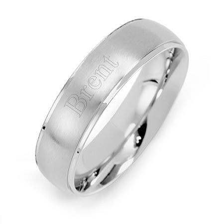 Engravable Men's 6mm Raised Stainless Steel Band | Eve's Addiction
