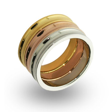 Designer Style Three Tone Stackable Concave Ring Set | Eve's Addiction®