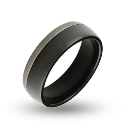 Mens Silver Trim Black Plate Engraved Band | Eve's Addiction®