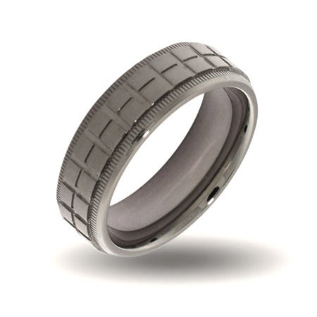Mens Crosshatch Design Steel Engravable Band | Eve's Addiction®