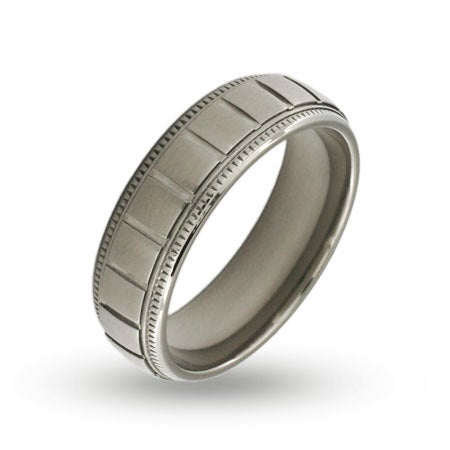 Mens Stainless Steel Ridged Band with Milgrain Edges | Eve's Addiction®
