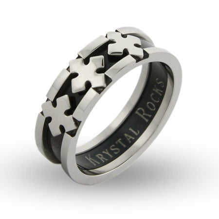 Black Plate Triple Cross Engravable Band | Eve's Addiction®