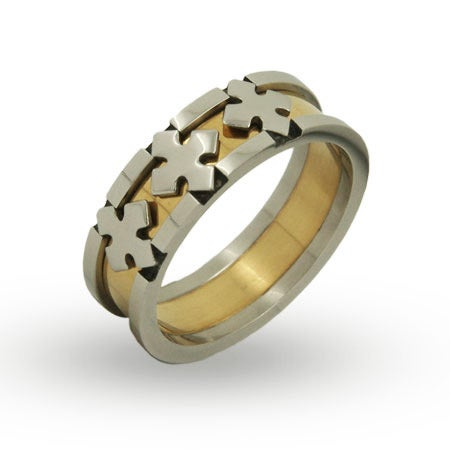 Steel and Gold Plated Triple Cross Engravable Band | Eve's Addiction®