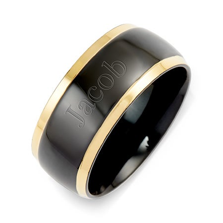 Mens Black Plate Gold Lined Steel Engravable Band | Eve's Addiction®