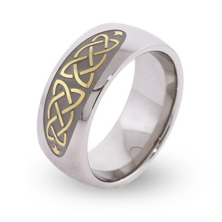 Engravable Gold and Silver Celtic Knot Comfort Fit Band | Eve's Addiction®