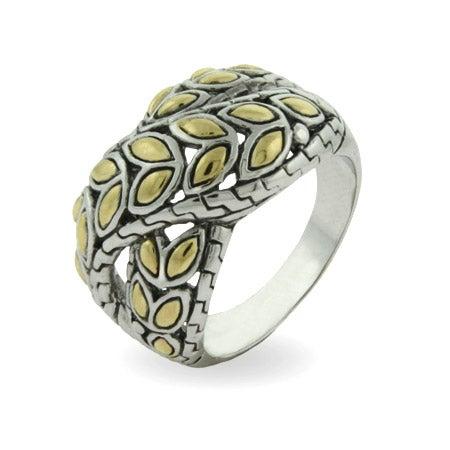 Designer Inspired Golden Leaf Design Crossover Ring | Eve's Addiction®