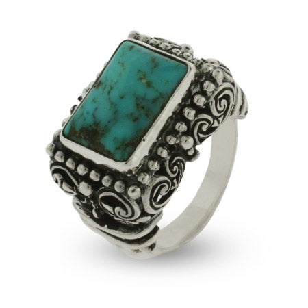 Ornate Bali Style Rectangle Cut Sterling Silver Turquoise Ring | Eve's Addiction®