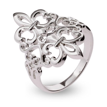 Sterling Silver Filagree Fleur de Lis Ring | Eve's Addiction®
