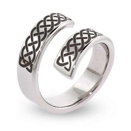 Engravable Celtic Knot Stainless Steel Bypass Ring | Eve's Addiction®