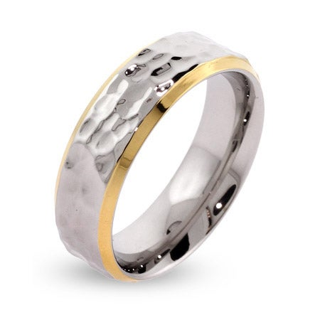 Men's Gold Lined Hammered Stainless Steel Engravable Band | Eve's Addiction®