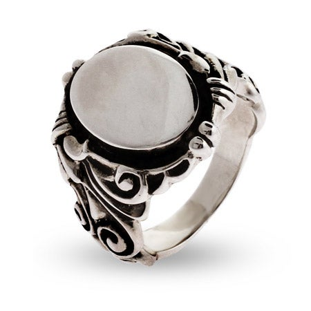 Engravable Ornate Scroll Design Sterling Silver Signet Ring | Eve's Addiction®