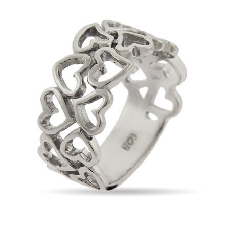 16 Hearts Sterling Silver Ring | Eve's Addiction®