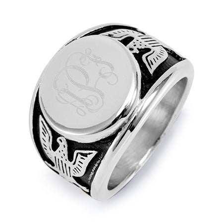 Men's Engravable American Bald Eagle Signet Ring in Stainless Steel | Eve's Addiction®