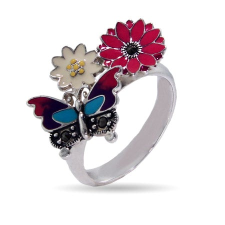 Designer Inspired Enamel Nature Butterfly Ring | Eve's Addiction®