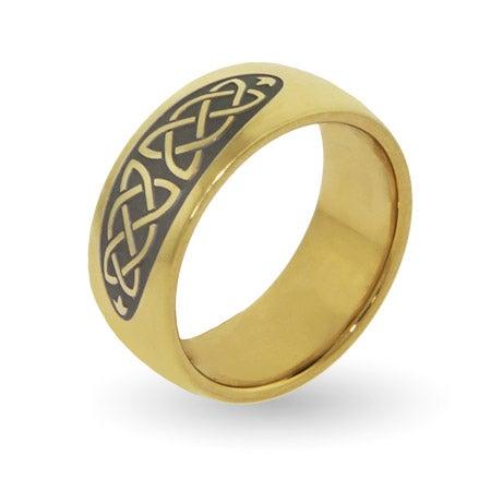 Engravable Golden Celtic Knot Comfort Fit Band | Eve's Addiction®