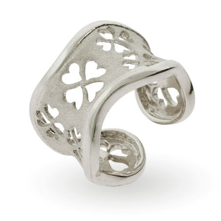 Lucky Four Leaf Clover Adjustable Sterling Silver Ring | Eve's Addiction®