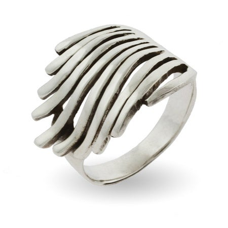 Sterling Silver Feathery Wave Ring | Eve's Addiction®