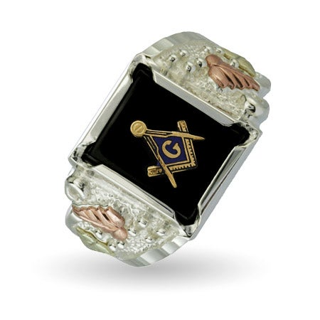 Men's Onyx Masonic Ring in Sterling Silver by Black Hills Gold | Eve's Addiction®