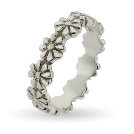 Ring of Flowers Silver Stackable Band | Eve's Addiction®